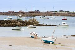 French coast of Brittany with boats Stock Photos
