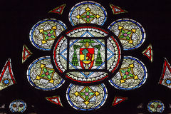 French Coat of Arms Stained Glass Notre Dame Paris France Royalty Free Stock Photos