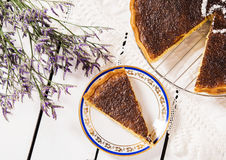 French coconut pie. On a white wooden background Royalty Free Stock Photos