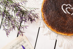 French coconut pie. On white wooden background Stock Photo