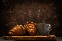 French coffee with croissant stock images