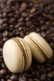 French coffee macaroons and coffee beans background Stock Images