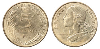 French coin 5 centimes royalty free stock image