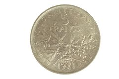 French coin isolated. French coin of 5 francs isolated on a white background stock image