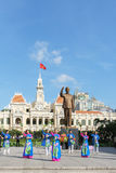 French colonial building Vietnam. The People's Committee building in Ho Chi Minh City (Saigon) with in front the statue of Ho Chi Min Stock Photography