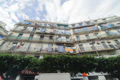 French colonial buildings in Algiers Algeria.Buildings are being renovated by Algerian government. Stock Photos