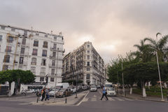 French colonial buildings in Algiers Algeria.Buildings are being renovated by Algerian government. ALGIERS, ALGERIA - SEP 24, 2016:French colonial buildings in Royalty Free Stock Photo