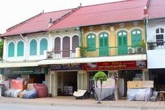 French colonial buildings shops, Battambang, Cambodia Stock Image