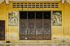 French colonial house building detail in battambang old town cam Royalty Free Stock Photo