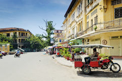 French colonial old town street of phnom penh city cambodia Stock Images