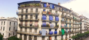 French colonial side of the city of Algiers Algeria.Modern city many old french type buildings. Royalty Free Stock Images