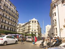 French colonial side of the city of Algiers Algeria.Modern city many old french type buildings. Royalty Free Stock Photo