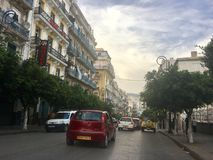 French colonial side of the city of Algiers, Bach Djarrah Algeria.Modern city has many old french type buildings. ALGIERS, ALGERIA - AGU 3, 2017: French stock photography