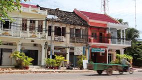 French Colonial: WS Pan Along Row of French Colonial Townhouses in Cambodia stock video footage