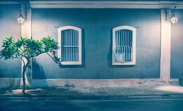 French Colony, Pondicherry at Night. Symmetrically beautiful Wall of French Colony, Pondicherry at Night Royalty Free Stock Images