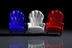 French color armchairs. Vintage French color armchairs on black background Royalty Free Illustration