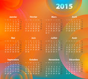 French colorful calendar for 2015 year. With abstract circles. Mondays first. Vector Illustration Royalty Free Stock Image