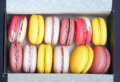 French colorful macarons in a box Royalty Free Stock Images