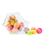 French colorful macarons in a glass jar Stock Image