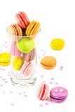 French colorful macarons in a glass stock photography
