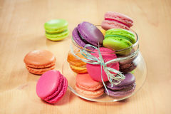 French colorful macarons in a glass Royalty Free Stock Photos