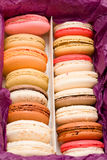 French colorful macarons with hearts Royalty Free Stock Photo