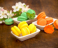 French colorful macarons - macaroons Royalty Free Stock Photo