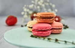 French colorful macaroons. Colorful pastel macaroons on a light background with fresh strawberries stock images