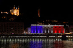 French colors on Palais de Justice in Lyon Royalty Free Stock Images