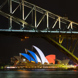 French colors on Sydney Opera House. The Sydney Opera house lit with the colors of the French flag in a show of solidarity to Paris stock image