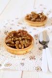 French confectionery: Walnut caramel tart Stock Photography
