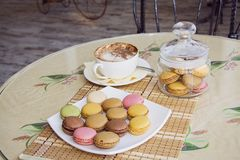 French cookies and capuccino Stock Photo
