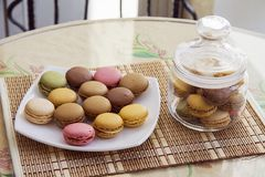 French cookies macarons royalty free stock photo