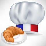 French cooking chef hat with croissant Stock Photography