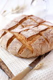 French country bread and milk Stock Images