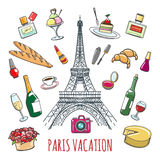 French country vacation doodle elements Stock Photo