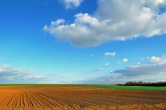 French countryside. Fields and blue sky in french countryside Royalty Free Stock Images