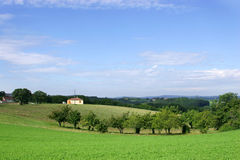 French Countryside and Farmhouse. Farmhouse and fields in the Dordogne Royalty Free Stock Image