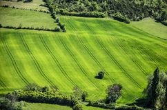 French countryside midi pyrenees styled fields. View of green fields carved in the midi pyrenees region to the south of france Royalty Free Stock Image