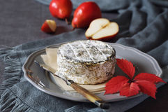 French cow& x27;s milk cheese and red pears Stock Images