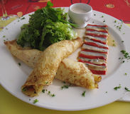 French crepe served in gourmet restaurant Royalty Free Stock Image