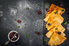 French crepes with berry and mint Stock Photography