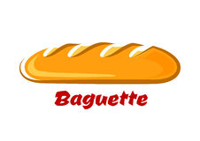 French crispy baguette in cartoon style Royalty Free Stock Photography