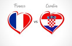 France vs Croatia flags, national team soccer on white background. French and Croatian national flag in a heart, button vector. Football championship final of Royalty Free Stock Images