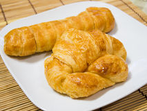 French croissant. Two french croissant on plate royalty free stock photography