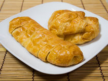 French croissant. Two french croissant on plate royalty free stock image