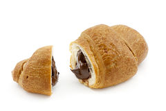 French croissant with chocolate filling. French croissant with chocolate isolated on white background stock image