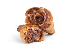 French croissant with chocolate isolated on white background. French croissant with, chocolate isolated on white background Stock Photography