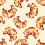 French croissant. Seamless pattern. French croissant. Hand painting watercolor seamless pattern vector illustration