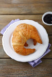 French croissant and jam Stock Photos